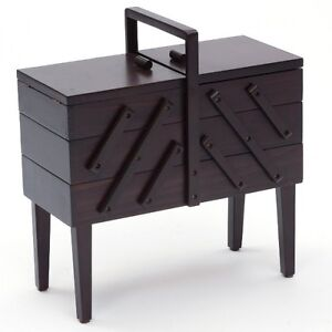 Large Dark Wood Wooden Cantilever on Legs, 3 Tier Sewing Craft Box Basket