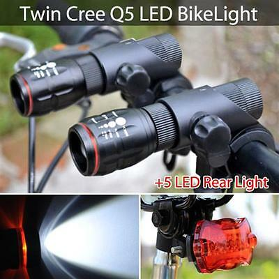 2x Cree Q5 Mountain Bike Bicycle Cycling Zoomable Torch Front + 5 LED Rear Lamp
