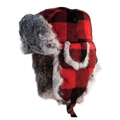 BUFFALO PLAID ESKIMO ALASKAN GENUINE RABBIT FUR RED HAT ICE AUGERS FISH HOUSE Buffalo Plaid Hat