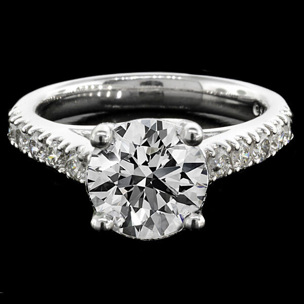 2.45ct Round Cut Lucida Style Diamond Engagement Ring 14k White Gold D Si1