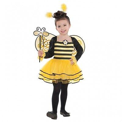 Biene Mädchen Kostüm (Biene Kostüm Gr. 98 104 Kleid Flügel Haarreif Stab Kinder Karneval Mädchen neu)