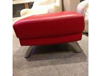 Dfs red leather footstool