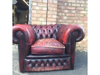 Chesterfield oxblood leather club chair
