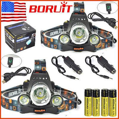 2 x BORUiT 13000lm 3XXM-L T6 LED Headlamp Headlight 18650 Battery + Charger Sets