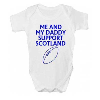 Me And Daddy Support Scotland Baby Grow - Rugby Football Babies Clothing - Daddy And Me Clothing