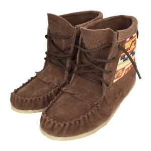Womens Chocolate Suede Concho Moccasin Boot