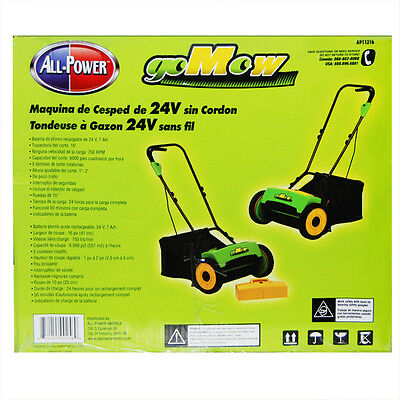 "GoMow 16"" 24 Volt Cordless Reel Lawn Mower with Grass Catcher"