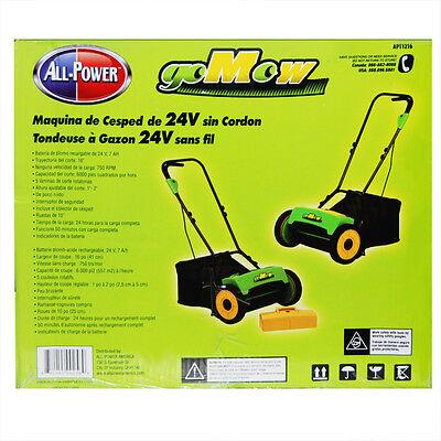 "GoMow 16"" 24 Volt Cordless Reel Lawn Mower with Grass Catcher"