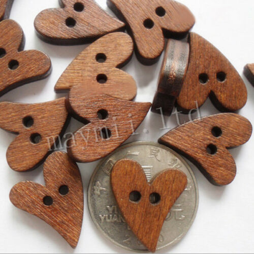Hot Sales 100 lot 20mm Brown Wood Wooden Sewing Heart Button Craft Scrapbooks Z