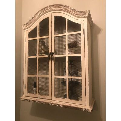 Rustic White Wood Wall Window Cabinet Distressed Mesh Doors Farmhouse Home Decor