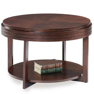 coffee table round wood apartment condo space saving vintage tables
