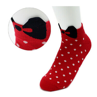 Made In Korea Socks Womens Girls Lady Cute Casual Socks Ribbon Dot Unique Socks
