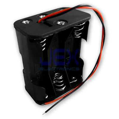 6X AA DIY Battery Holder Case Box Base 9V Volt PCB Mount With Bare Wire Ends