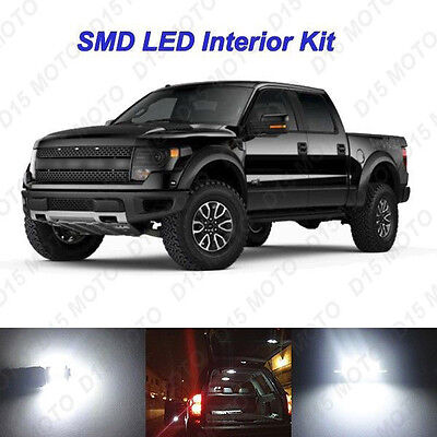 White LED Interior Bulbs Package + Puddle + License Plate Lights for Ford F150