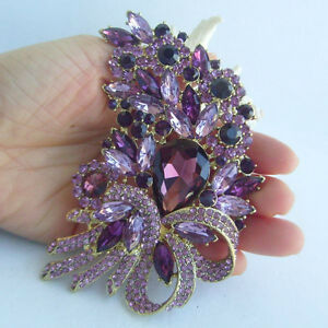 4-13-034-Elegant-Leaf-Flower-Brooch-Pin-w-Purple-Rhinestone-Crystal-EE04555C12