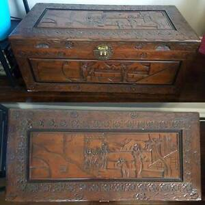 Carved wooden camphor chest Malabar Eastern Suburbs Preview