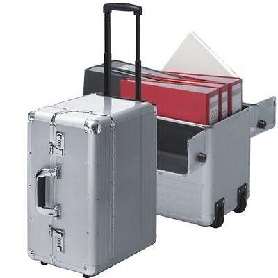 XXL Pilotenkoffer mit Rollen Trolley Pilotentrolley Aluminium  silber XXL