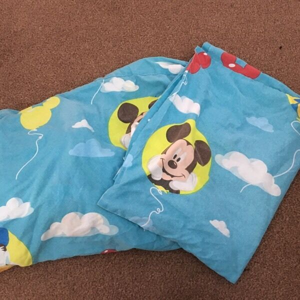 Mickey Mouse single bed covers and pillow