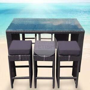 OUTDOOR BAR SETTING  BAR TABLE AND 6  BAR STOOLS WICKER BAR SET Nerang Gold Coast West Preview