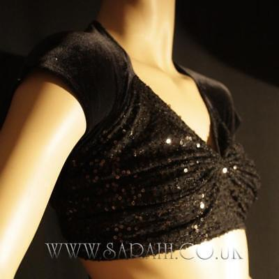 BLACK BELLY DANCE COSTUME,CROP TOP,SEQUIN TOP,DANCE WEAR,BELLY,SARI,SAREE,CROP](Black Belly Dancer Costume)