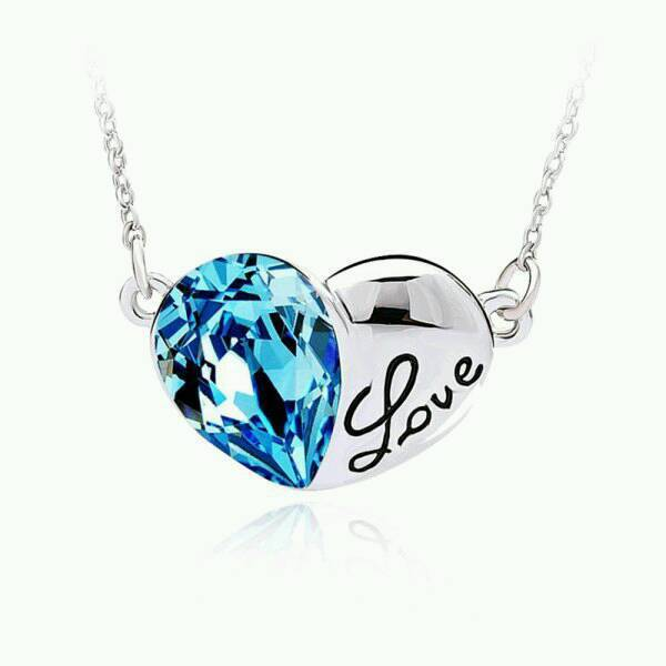 New Ladies Fashion Austrian Crystals Silver Love Heart Necklace