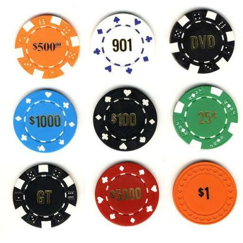 100 CUSTOM HOT STAMPED POKER CHIPS -  5 STYLES TO CHOOSE FROM! FREE SHIPPING *