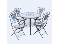 MOSAIC PATIO TABLE AND TWO CHAIR IN GREAT CONDITION