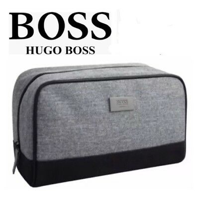 HUGO BOSS Men's Toiletry Wash Bag Shave Travel Pouch Grey 100% GENUINE Brand New