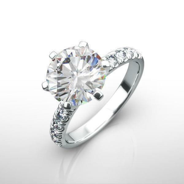 Accented Ladies 2.5 Ct Diamond Ring Round Flawless Vs1 14k White Gold 6 Prong