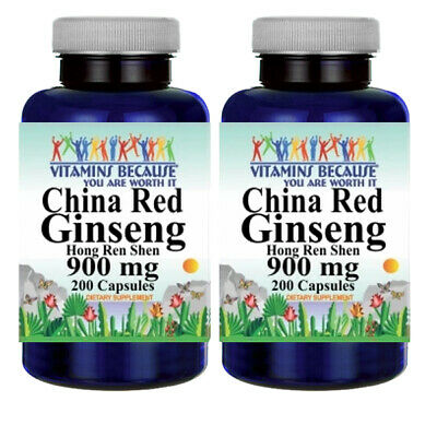 Chinese Red Panax Ginseng Root 900mg 2X200 -