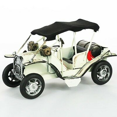 Retro Vintage Beige Automobile Car Model Home Decoration Ornament Toy Metal
