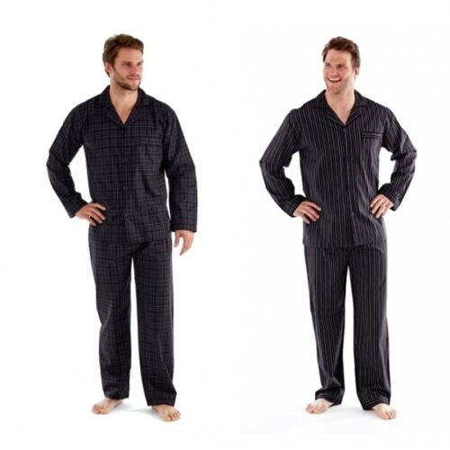 Papa Jams THOMAS Mens Striped/Checked Button Fastening Matching Pyjama Set