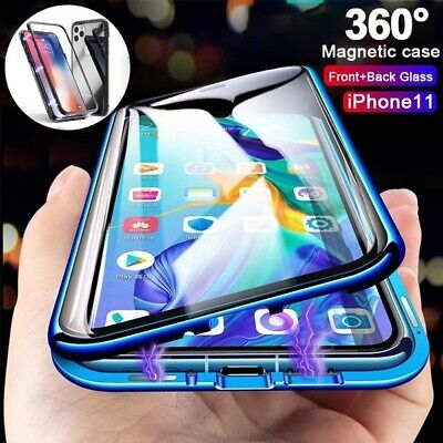 Magnetic Adsorption Full Tempered Glass Case Cover for IPhone 11 Pro XS Max XR X