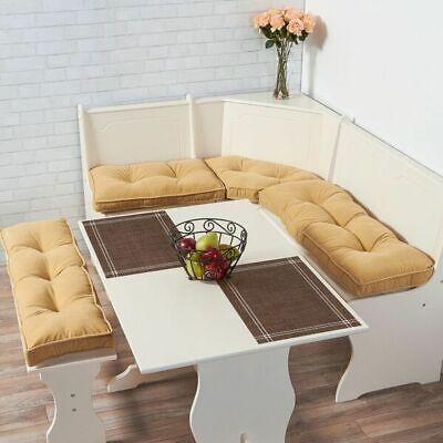 Kitchen Dining Corner Nook Cream Cushion Set Breakfast Bench Table Furniture 4PC