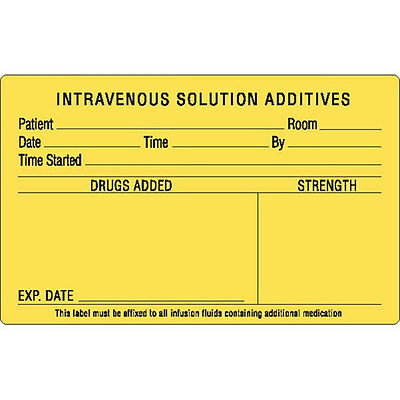 Intravenous Solution Additives Pharmacy Label Black On Yellow 1000 Roll