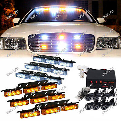 54 Amber&White LED Warning Flash Strobe Light Bar Emergency Deck Dash Grille C91
