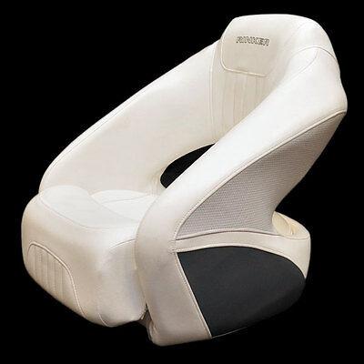 RINKER OEM WHITE / LIGHT GRAY / DARK GRAY VINYL MARINE BOAT BOLSTER SEAT