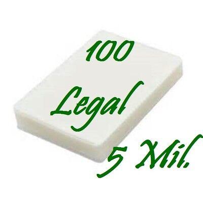 100 Legal 5 Mil Laminating Pouches Laminator Sheets 9 X 14 1 2 Scotch Quality