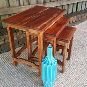 Vintage Teak Nest of Three Coffee Side Tables Distressed Finish Coogee Eastern Suburbs Preview