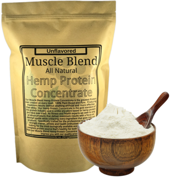 Hemp Protein Powder concentrate, Raw Vegan, 100% Pure Unflavored, Muscle Blend