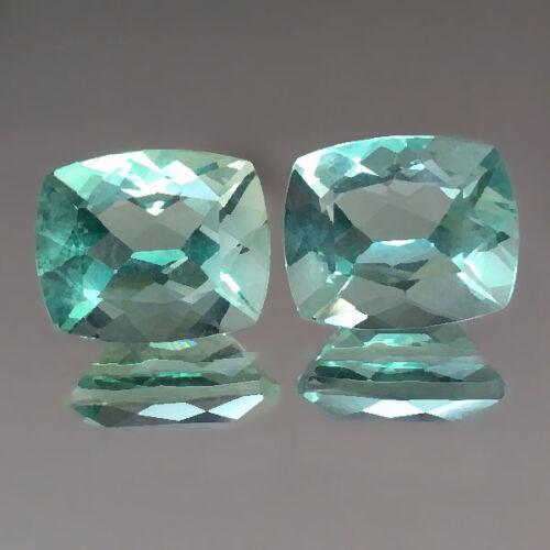 9.69cts 11x9mm Cute Cushion Pair Green Natural Fluorite Loose Genuine Gemstones