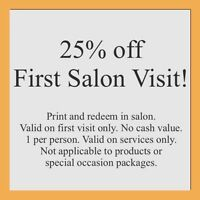 25% off First Salon Visit