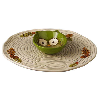 469450 Owl Chip Plate & Dip Bowl Crimson Hollow Dish Salsa Tortilla Potato Party