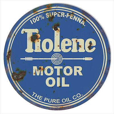 Large Reproduction Tiolene 100% Motor Oil Sign 18 Round