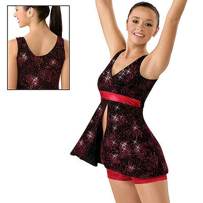 NEW 'Best Shot' Red Black Glitter Sparkle Dance Jazz Competition Costume Child](Shot Girl Costume)