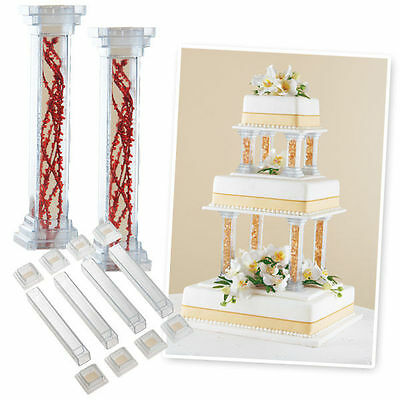 "Wilton 6 "" Fillable Pillar Set Wedding Cake Decorating Separator Stand 12 Pieces"