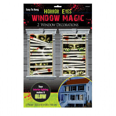 Halloween Zombies Horror Eyes Window Magic Decorations x 2 ()
