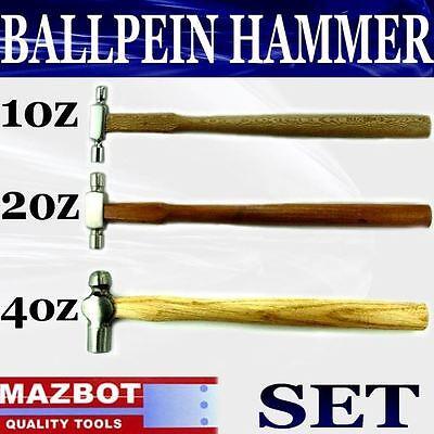 3pc Mazbot Ball Peen Pein Jewelry Hammer Wooden Handle