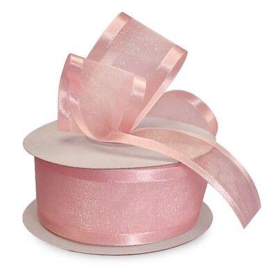 Pink Organza Satin Edge Ribbon - 2 Pc Pink Organza Ribbon with Satin Edge-25 yards x 7/8 inches