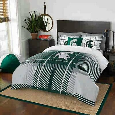 Queen Sports Room Bedding - Boys Room 40 Pc MSU Michigan State College Full Bedding, Fatheads, Blanket +++